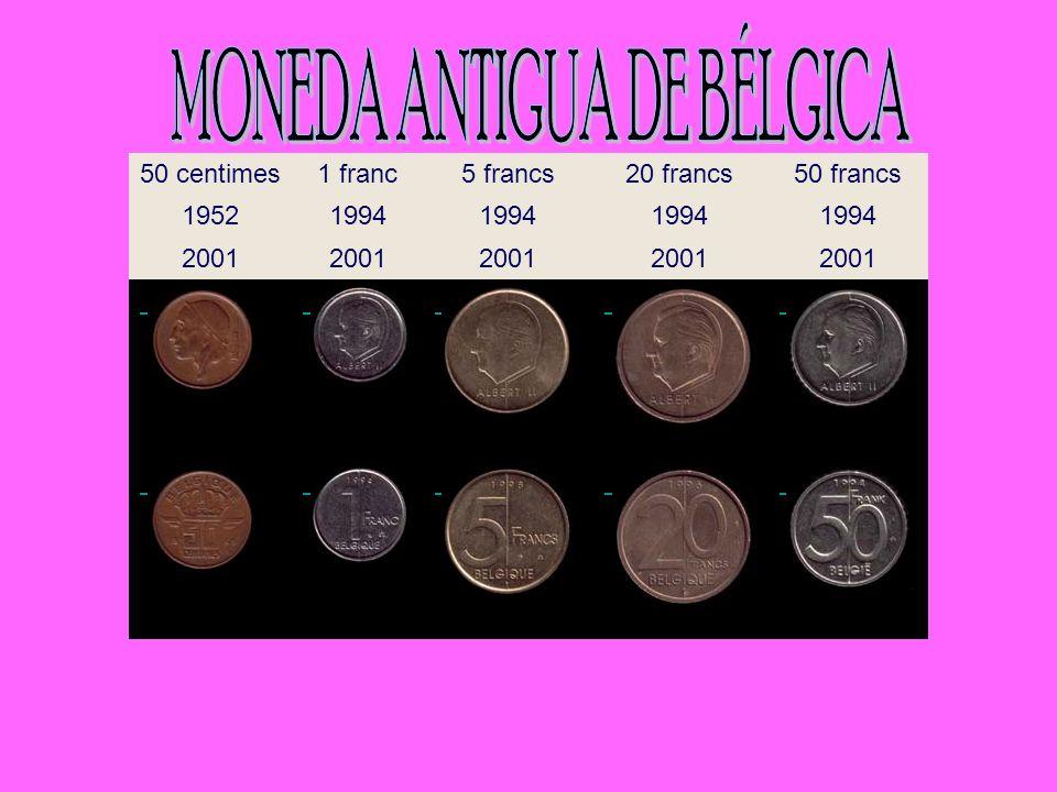 50 centimes1 franc5 francs20 francs50 francs 19521994 2001