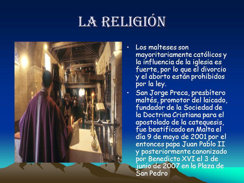 La religión Los malteses son mayoritariamente católicos y la influencia de la iglesia es fuerte, por lo que el divorcio y el aborto están prohibidos p