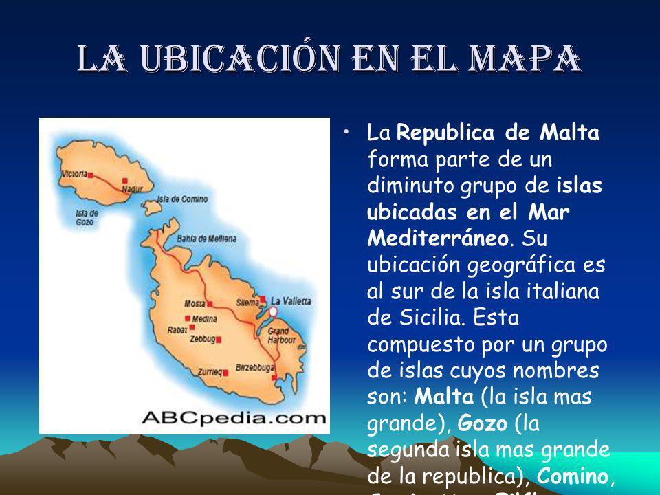 La ubicación en el mapa La Republica de Malta forma parte de un diminuto grupo de islas ubicadas en el Mar Mediterráneo. Su ubicación geográfica es al