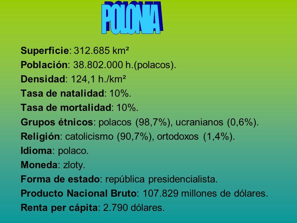 Superficie: 312.685 km² Población: 38.802.000 h.(polacos). Densidad: 124,1 h./km² Tasa de natalidad: 10%. Tasa de mortalidad: 10%. Grupos étnicos: pol