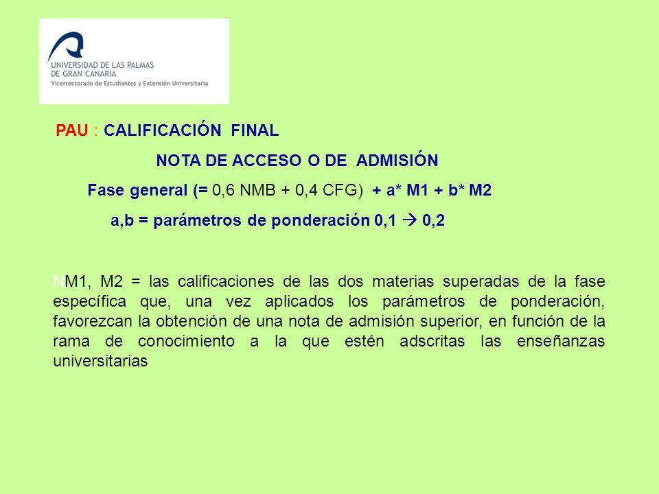 PAU : CALIFICACIÓN FINAL NOTA DE ACCESO O DE ADMISIÓN Fase general (= 0,6 NMB + 0,4 CFG) + a* M1 + b* M2 a,b = parámetros de ponderación 0,1 0,2 NM1, M2 = las calificaciones de las dos materias superadas de la fase específica que, una vez aplicados los parámetros de ponderación, favorezcan la obtención de una nota de admisión superior, en función de la rama de conocimiento a la que estén adscritas las enseñanzas universitarias