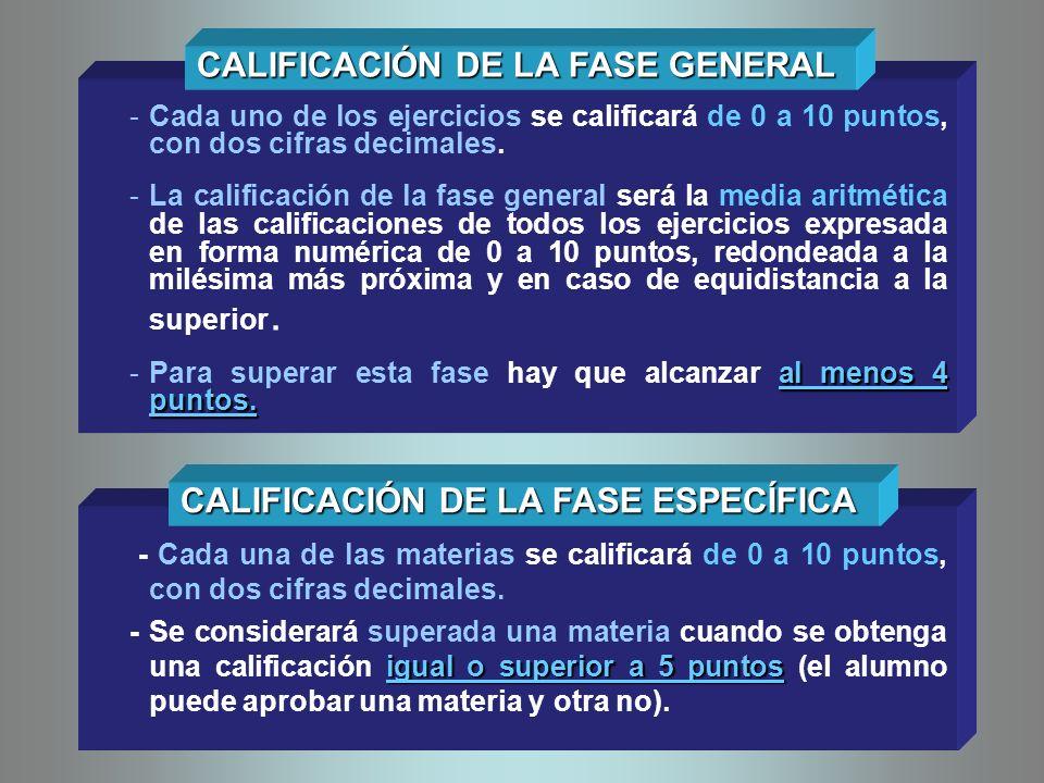 -Cada uno de los ejercicios se calificará de 0 a 10 puntos, con dos cifras decimales. -La calificación de la fase general será la media aritmética de