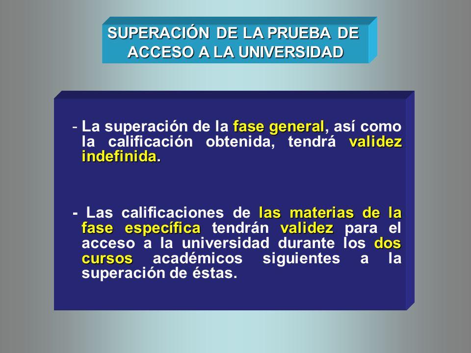 fase general validez indefinida. -La superación de la fase general, así como la calificación obtenida, tendrá validez indefinida. las materias de la f