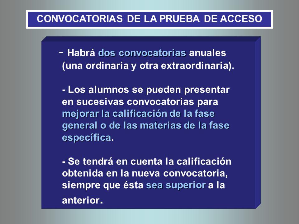 dos convocatorias mejorar la calificación de la fase general o de las materias de la fase específica sea superior - Habrá dos convocatorias anuales (u