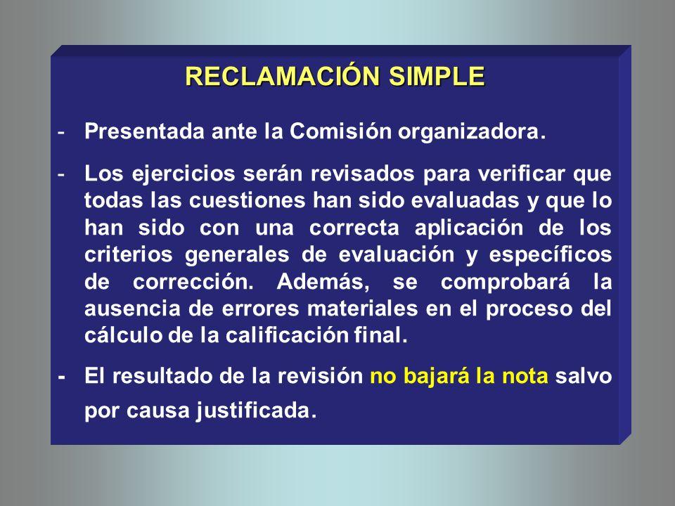 RECLAMACIÓN SIMPLE -Presentada ante la Comisión organizadora. -Los ejercicios serán revisados para verificar que todas las cuestiones han sido evaluad