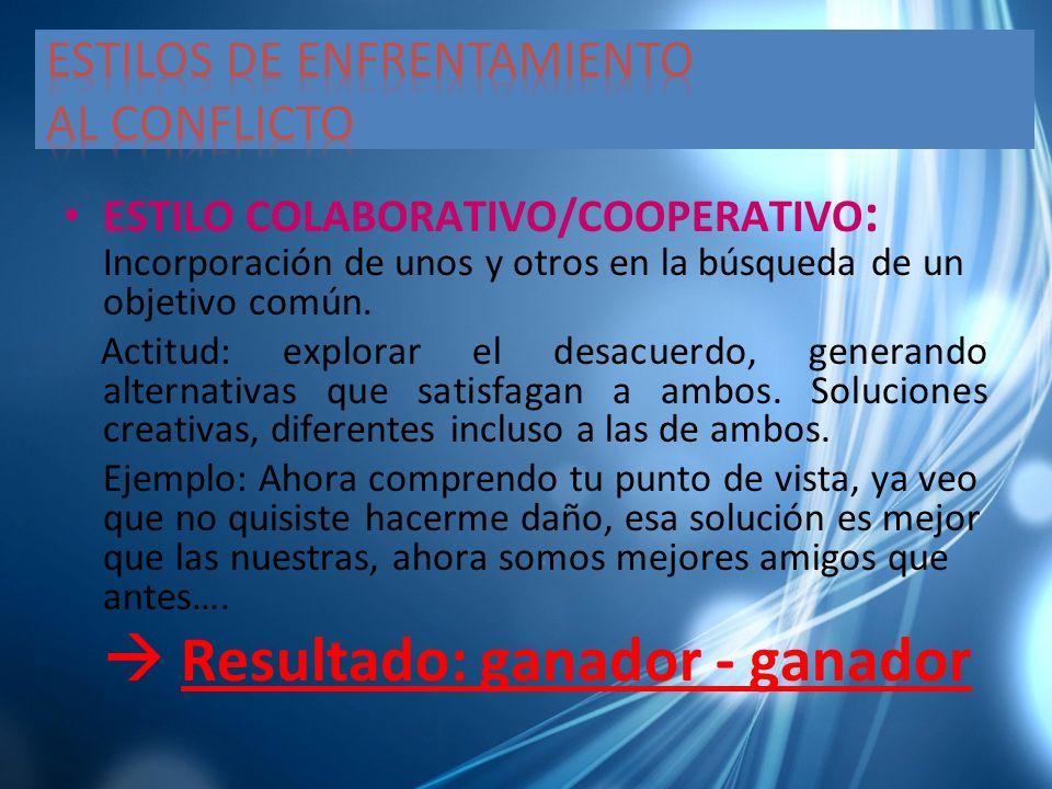 ESTILO COLABORATIVO/COOPERATIVO : Incorporación de unos y otros en la búsqueda de un objetivo común. Actitud: explorar el desacuerdo, generando altern