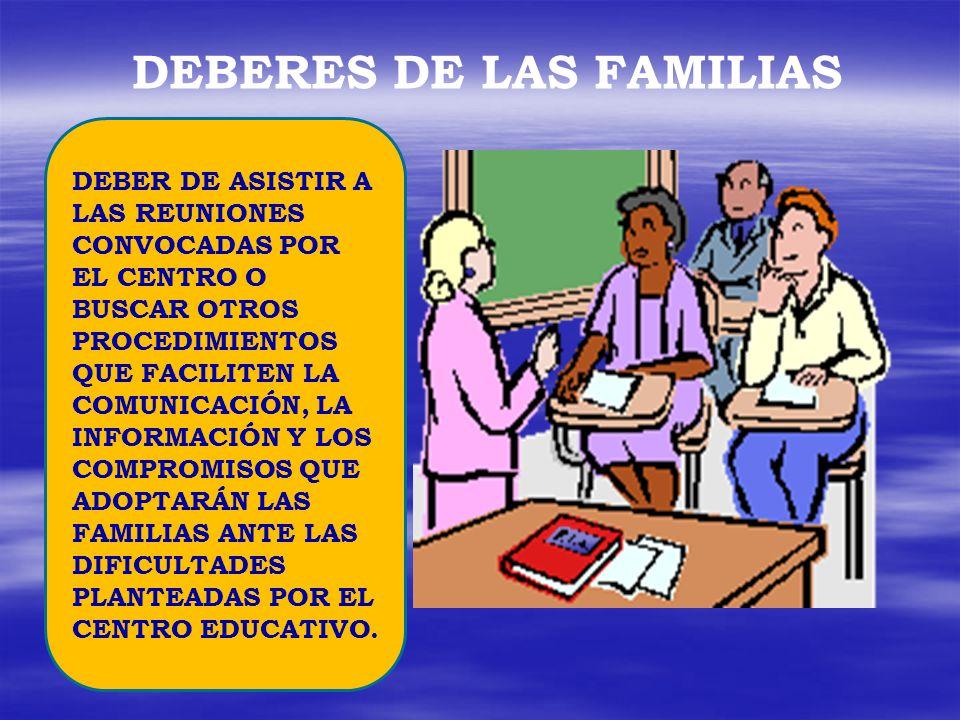 DEBERES DE LAS FAMILIAS DEBER DE CONOCER Y PARTICIPAR EN LA EVOLUCIÓN ACADÉMICA DE SUS HIJOS E HIJAS TIENEN LA OBLIGACIÓN DE ESTIMULAR A SUS HIJOS E HIJAS HACIA EL ESTUDIO E IMPLICARSE DE MANERA ACTIVA EN LA MEJORA DE SU RENDIMIENTO Y, EN SU CASO, DE SU CONDUCTA.