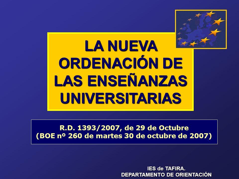 LA NUEVA ORDENACIÓN DE LAS ENSEÑANZAS UNIVERSITARIAS R.D.