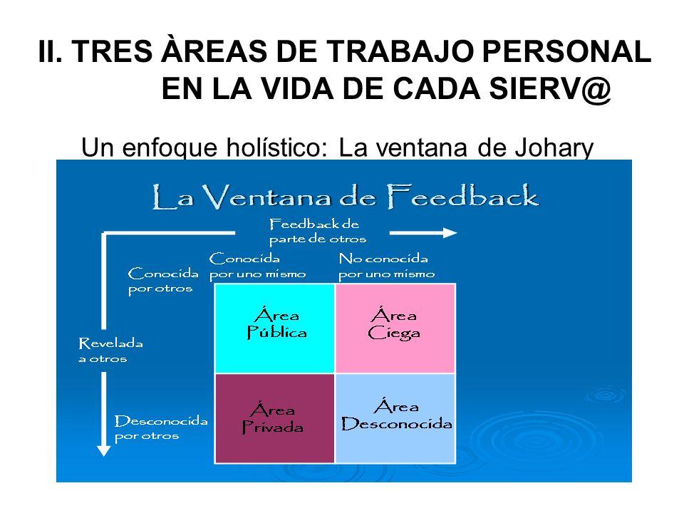 II. TRES ÀREAS DE TRABAJO PERSONAL EN LA VIDA DE CADA SIERV@ Un enfoque holístico: La ventana de Johary