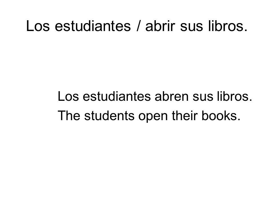 Los estudiantes / abrir sus libros. Los estudiantes abren sus libros. The students open their books. period 1 ended here