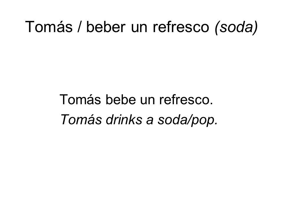 Tomás / beber un refresco (soda) Tomás bebe un refresco. Tomás drinks a soda/pop.