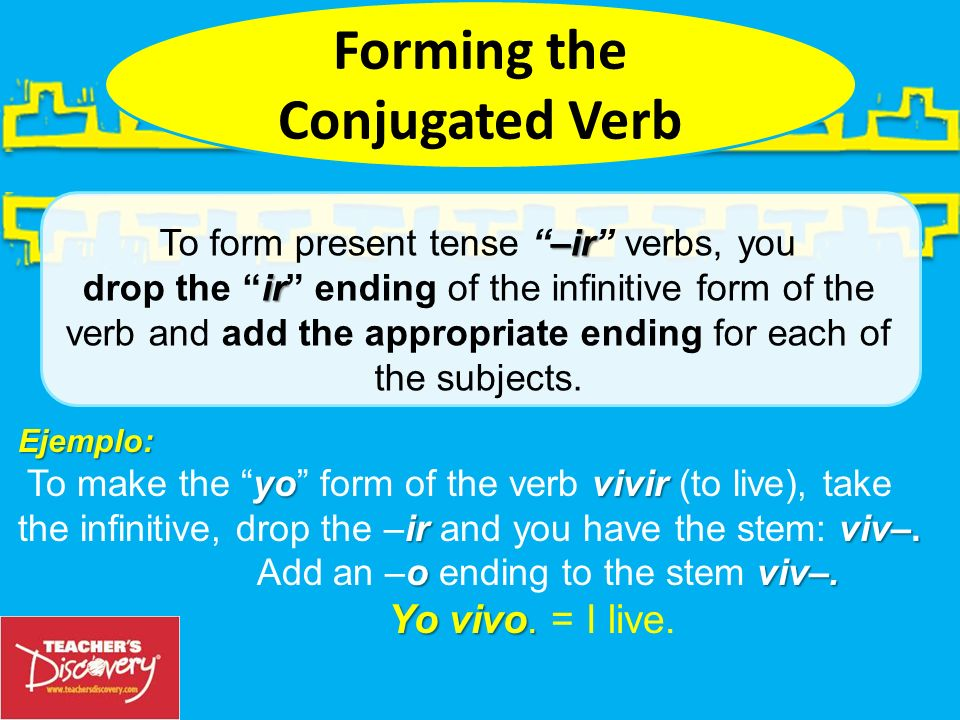 Ejemplo: yovivir To make the yo form of the verb vivir (to live), take ir viv–.
