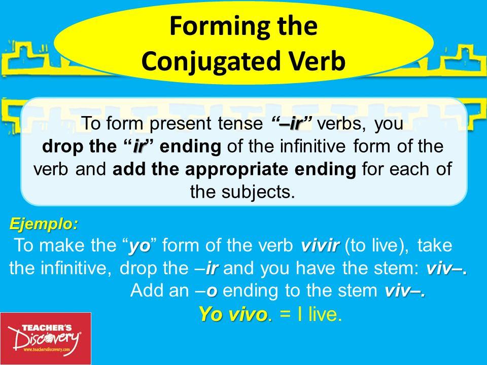 –irInfinitive = the –ir form of a verb Ejemplo: escribir Ejemplo: escribir = to write –o, –es, –e, –imos, –ís–en. –o, –es, –e, –imos, –ís and –en. –ir