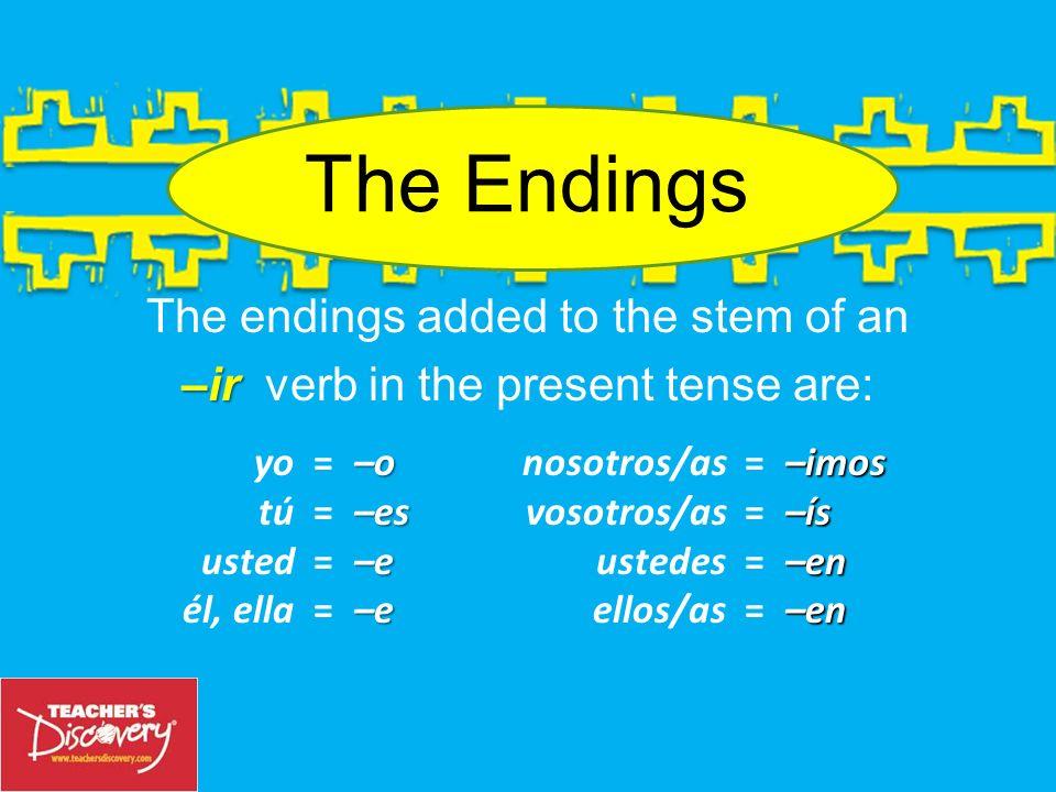Ejemplo: yovivir To make the yo form of the verb vivir (to live), take ir viv–. the infinitive, drop the –ir and you have the stem: viv–. oviv–. Add a