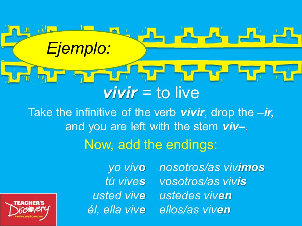 vivir vivir = to live Take the infinitive of the verb vivir, drop the –ir, and you are left with the stem viv–.