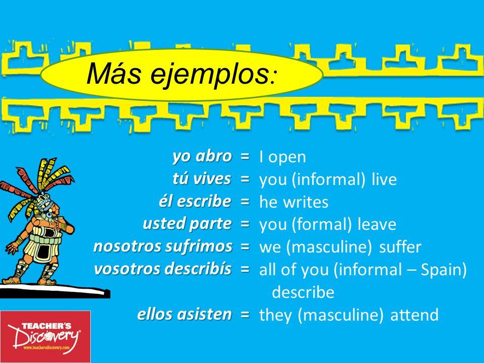 yo escribo yo escribo = I write tú tú escribes = You write (informal) usted usted escribe = you write (formal) él, ella él, ella escribe = he/she writ