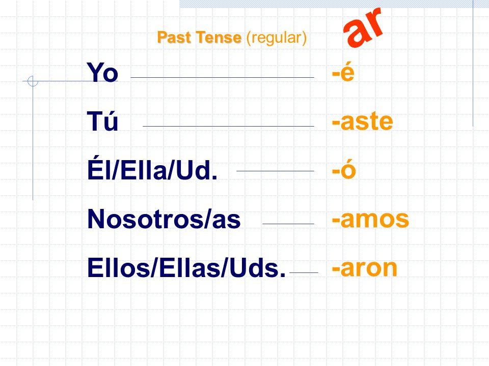 Yo Tú Él/Ella/Ud. Nosotros/as Ellos/Ellas/Uds.
