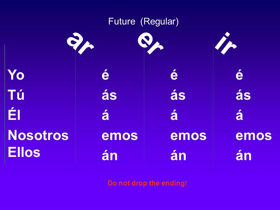 Yo Tú Él Nosotros Ellos é ás á emos án é ás á emos án é ás á emos án ar er ir Future (Regular) Do not drop the ending!