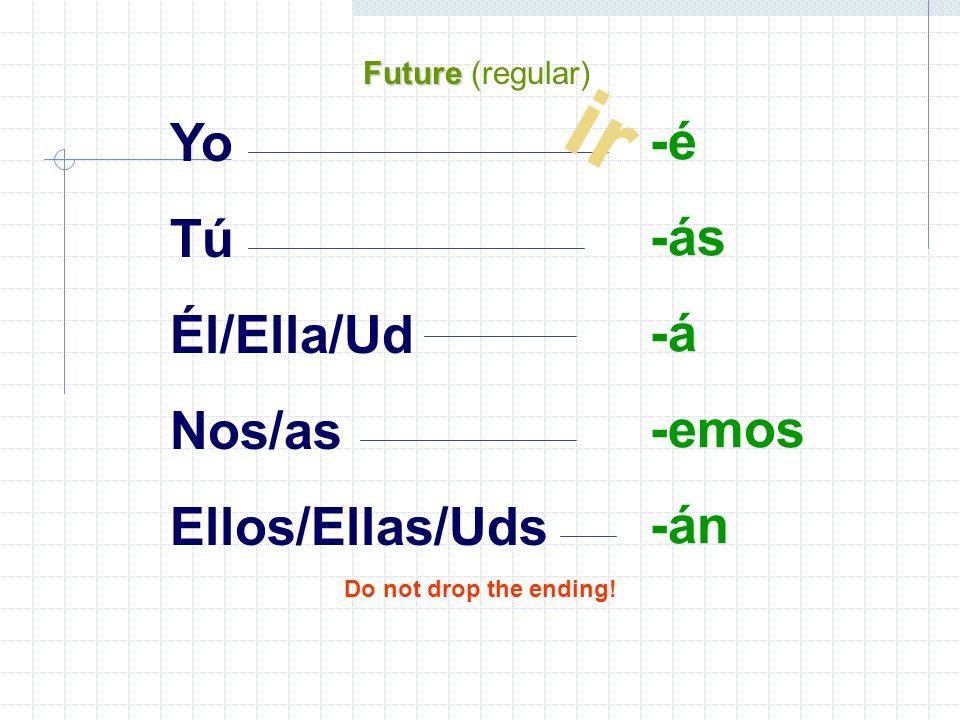 Yo Tú Él/Ella/Ud Nos/as Ellos/Ellas/Uds -é -ás -á -emos -án Future Future (regular) ir Do not drop the ending!