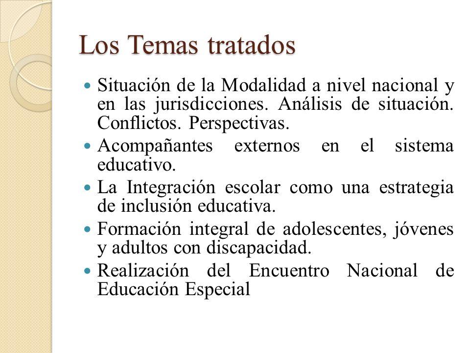 Los Temas tratados Situación de la Modalidad a nivel nacional y en las jurisdicciones. Análisis de situación. Conflictos. Perspectivas. Acompañantes e