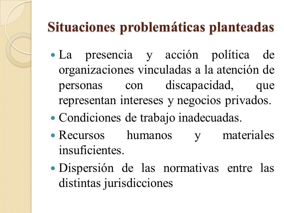 Situaciones problemáticas planteadas La presencia y acción política de organizaciones vinculadas a la atención de personas con discapacidad, que repre