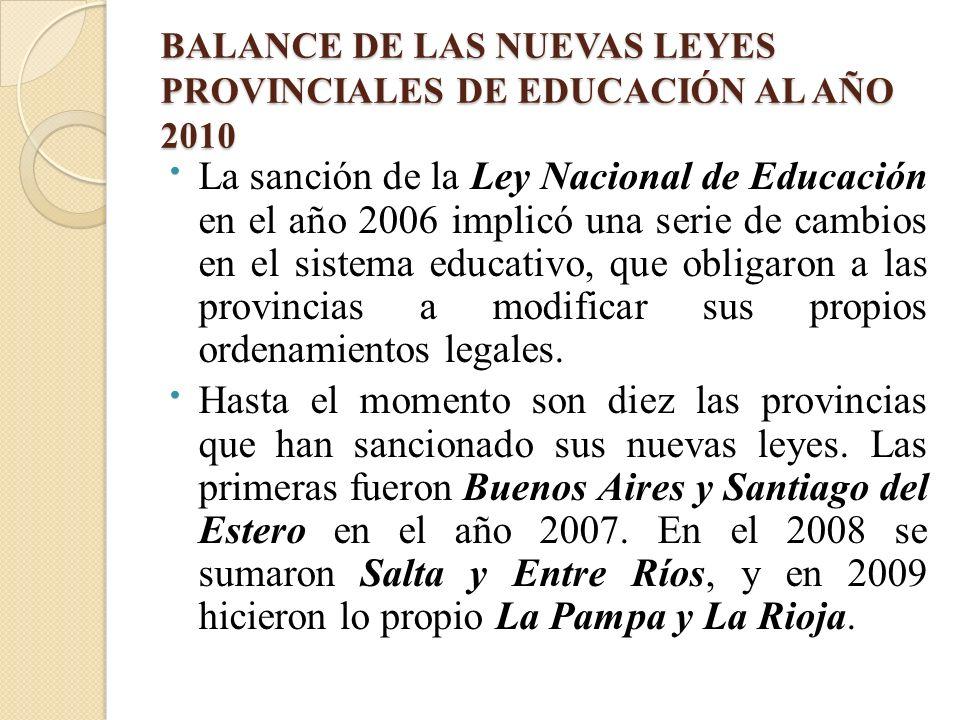 BALANCE DE LAS NUEVAS LEYES PROVINCIALES DE EDUCACIÓN AL AÑO 2010 La sanción de la Ley Nacional de Educación en el año 2006 implicó una serie de cambi