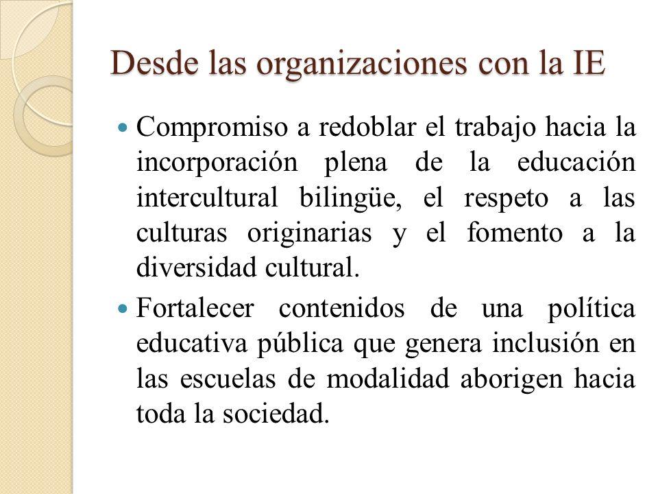 Desde las organizaciones con la IE Compromiso a redoblar el trabajo hacia la incorporación plena de la educación intercultural bilingüe, el respeto a