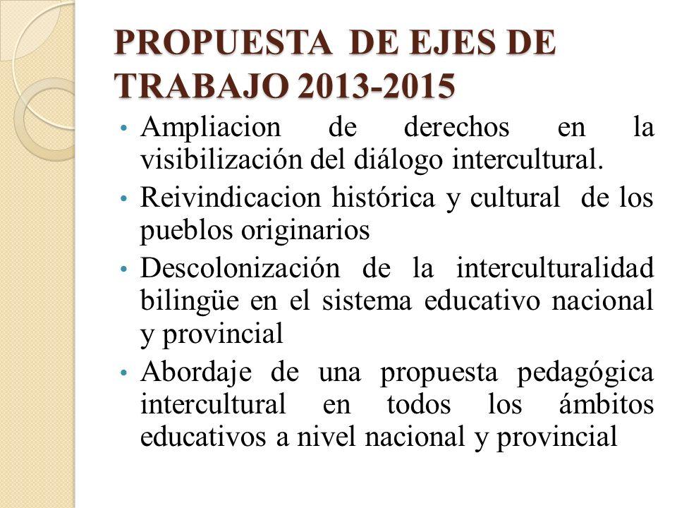 PROPUESTA DE EJES DE TRABAJO 2013-2015 Ampliacion de derechos en la visibilización del diálogo intercultural. Reivindicacion histórica y cultural de l
