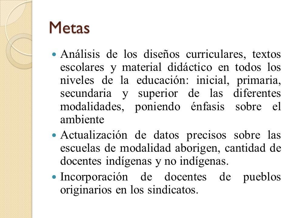 Metas Análisis de los diseños curriculares, textos escolares y material didáctico en todos los niveles de la educación: inicial, primaria, secundaria