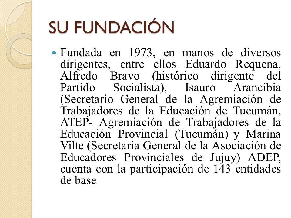 SU FUNDACIÓN Fundada en 1973, en manos de diversos dirigentes, entre ellos Eduardo Requena, Alfredo Bravo (histórico dirigente del Partido Socialista)