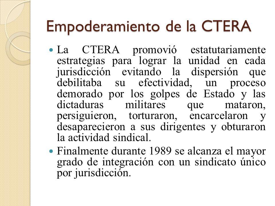 Empoderamiento de la CTERA La CTERA promovió estatutariamente estrategias para lograr la unidad en cada jurisdicción evitando la dispersión que debili