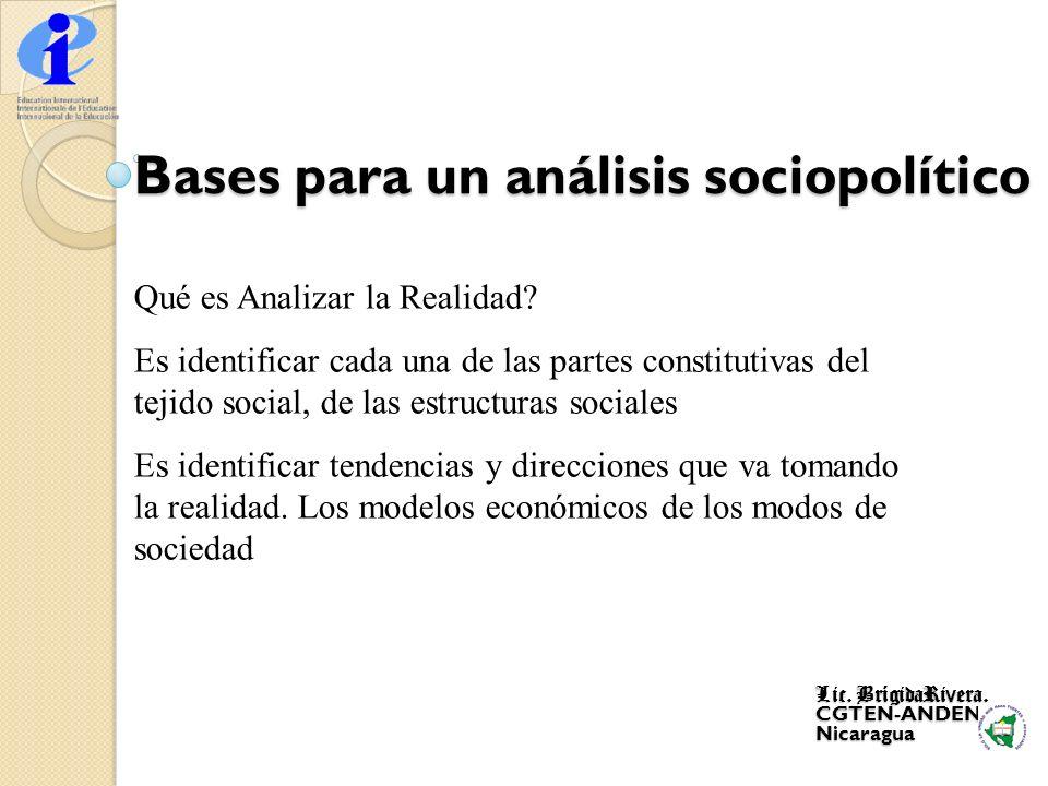Bases para un análisis sociopolítico Qué es Analizar la Realidad? Es identificar cada una de las partes constitutivas del tejido social, de las estruc