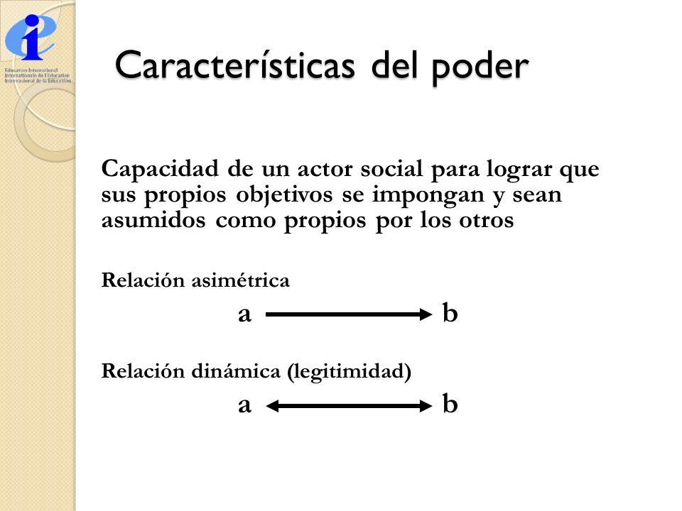 Capacidad de un actor social para lograr que sus propios objetivos se impongan y sean asumidos como propios por los otros Relación asimétrica ab Relac