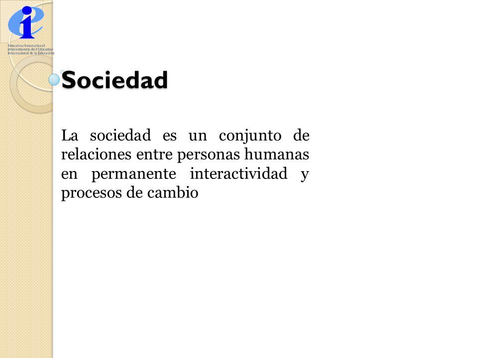 Sociedad La sociedad es un conjunto de relaciones entre personas humanas en permanente interactividad y procesos de cambio