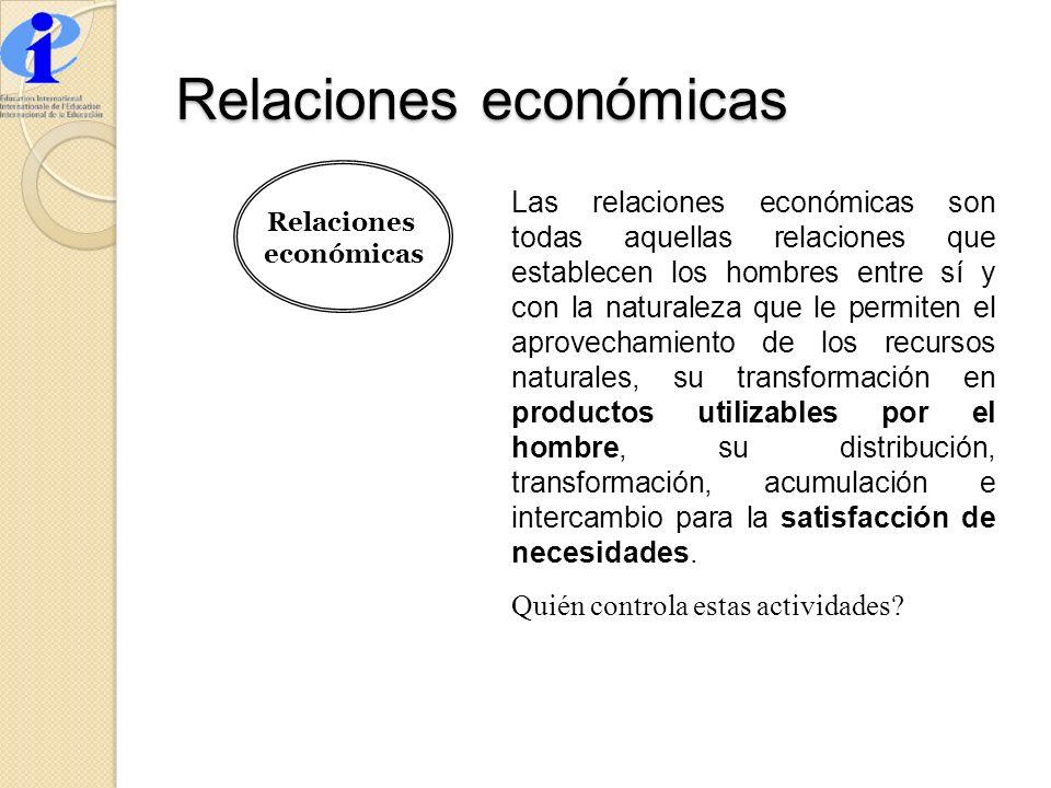 Relaciones económicas Relaciones económicas Las relaciones económicas son todas aquellas relaciones que establecen los hombres entre sí y con la natur