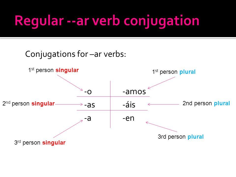 Conjugations for –ar verbs: -o -amos -as - ái s -a -en 1 st person singular 2 nd person singular 3 rd person singular 1 st person plural 2nd person pl