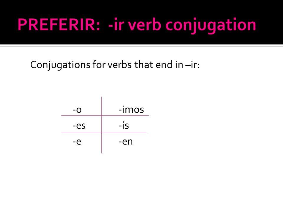 Conjugations for verbs that end in –ir: -o -imos -es -ís -e -en