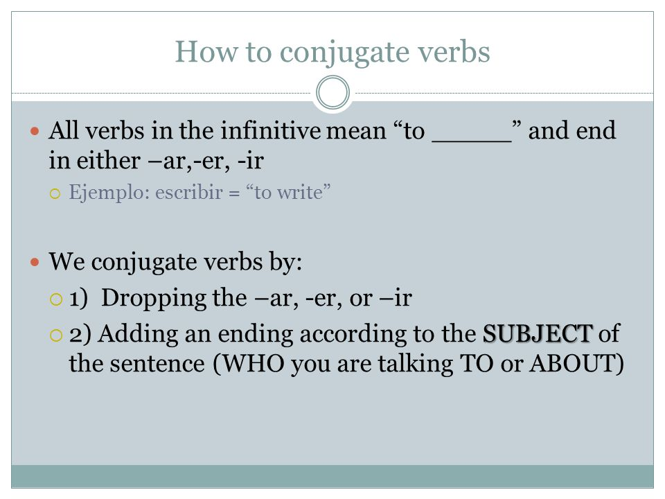 How to conjugate verbs All verbs in the infinitive mean to _____ and end in either –ar,-er, -ir Ejemplo: escribir = to write We conjugate verbs by: 1)