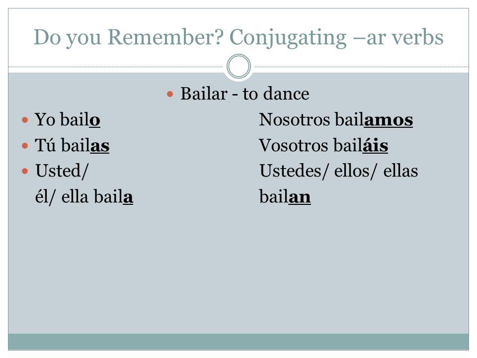 Do you Remember? Conjugating –ar verbs Bailar - to dance Yo bailoNosotros bailamos Tú bailasVosotros bailáis Usted/ Ustedes/ ellos/ ellas él/ ella bai
