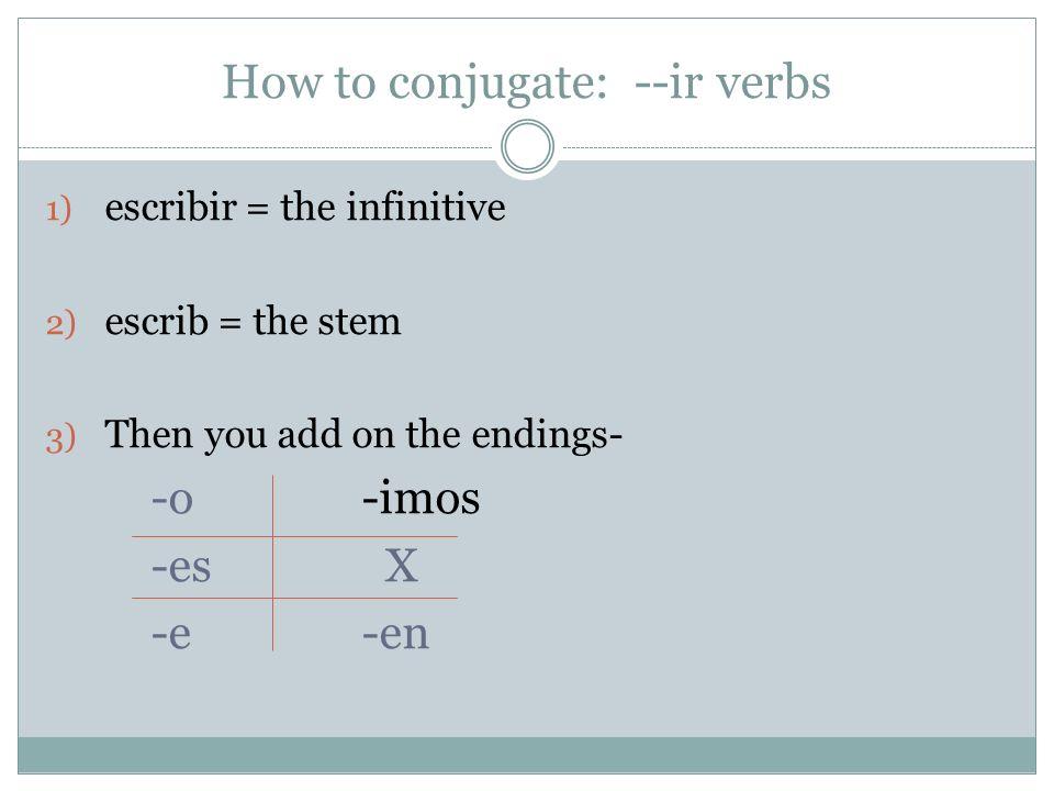 How to conjugate: --ir verbs 1) escribir = the infinitive 2) escrib = the stem 3) Then you add on the endings- -o -imos -es X -e-en