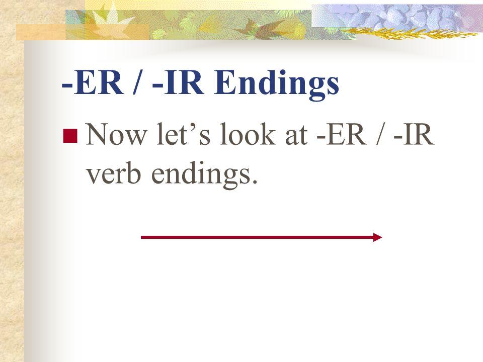 -ER / -IR Endings Now lets look at -ER / -IR verb endings.