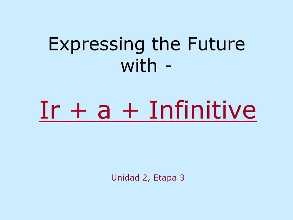 Expressing the Future with - Ir + a + Infinitive Unidad 2, Etapa 3