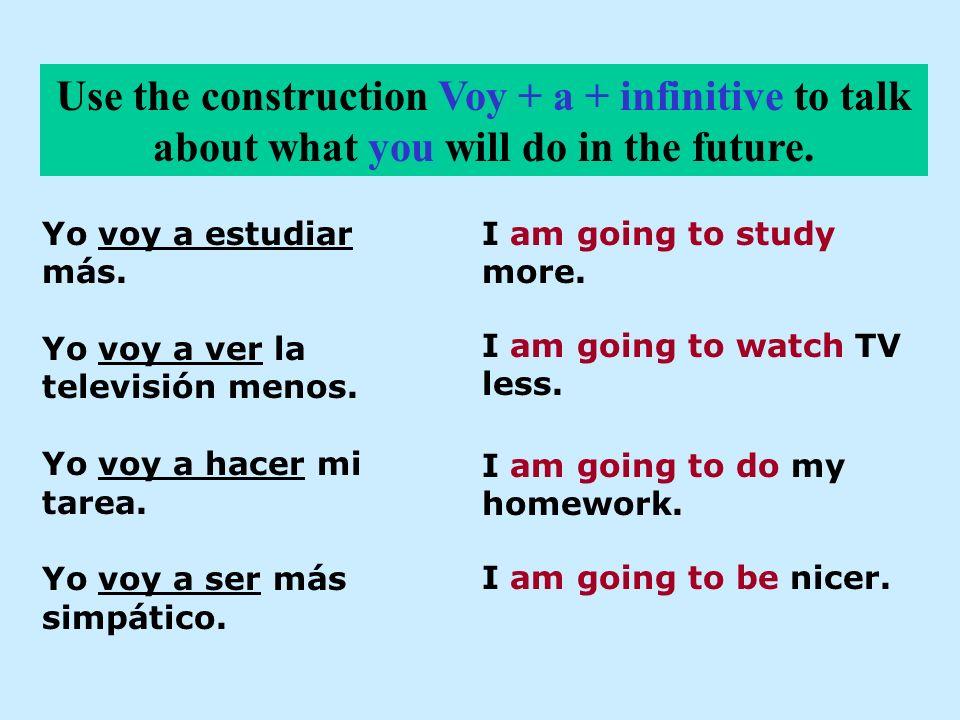 Yo voy a estudiar más. Yo voy a ver la televisión menos. Yo voy a hacer mi tarea. Yo voy a ser más simpático. Use the construction Voy + a + infinitiv