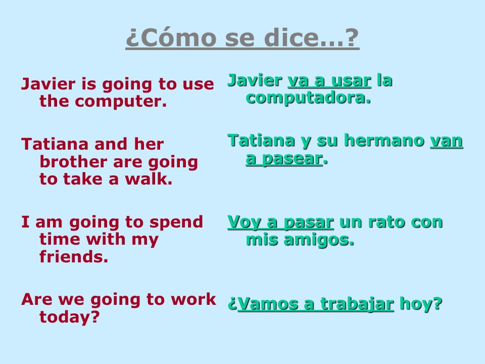 ¿Cómo se dice…. Javier is going to use the computer.