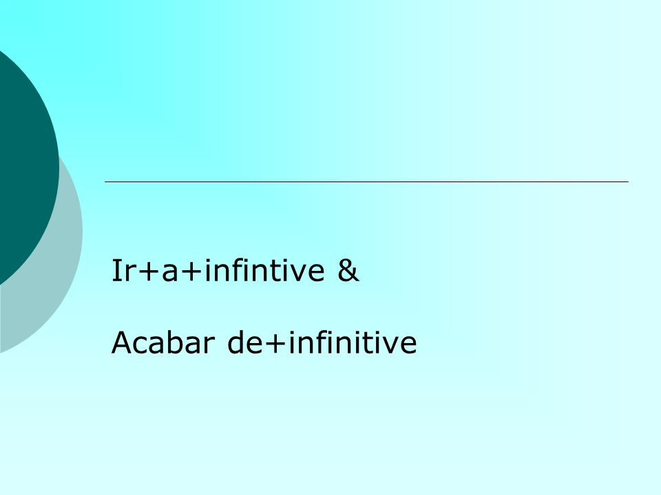 Ir +a+infinitivo Used to talk about what we are going to do in the immediate future Ir=to go VoyVamos VasVais VaVan Voy a estudiar hoy.