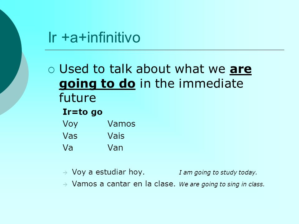 Ir +a+infinitivo Used to talk about what we are going to do in the immediate future Ir=to go VoyVamos VasVais VaVan Voy a estudiar hoy. I am going to