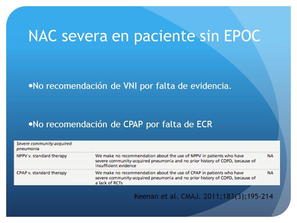 NAC severa en paciente sin EPOC No recomendación de VNI por falta de evidencia. No recomendación de CPAP por falta de ECR Keenan et al. CMAJ. 2011;183