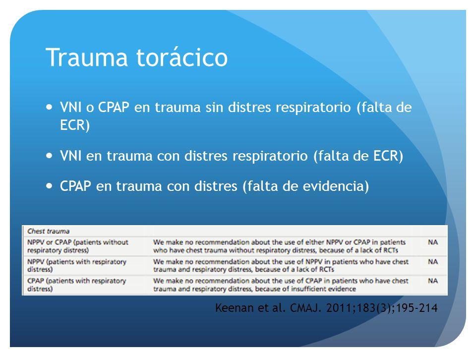 Trauma torácico VNI o CPAP en trauma sin distres respiratorio (falta de ECR) VNI en trauma con distres respiratorio (falta de ECR) CPAP en trauma con