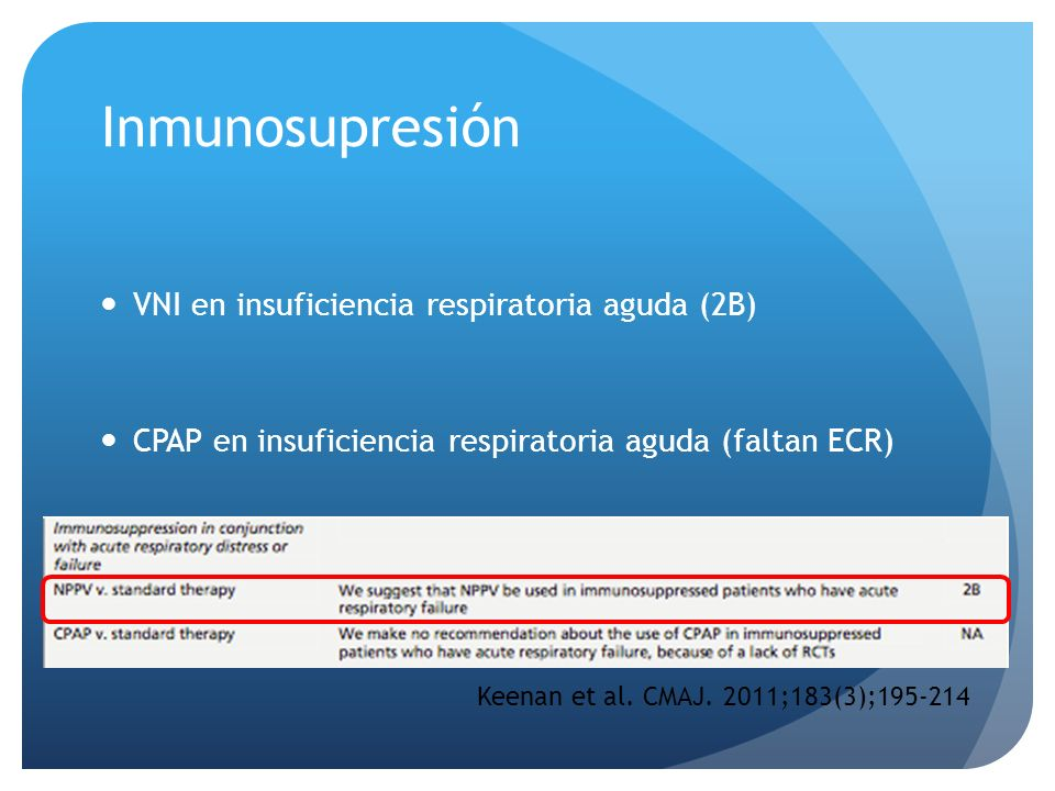 Inmunosupresión VNI en insuficiencia respiratoria aguda (2B) CPAP en insuficiencia respiratoria aguda (faltan ECR) Keenan et al. CMAJ. 2011;183(3);195