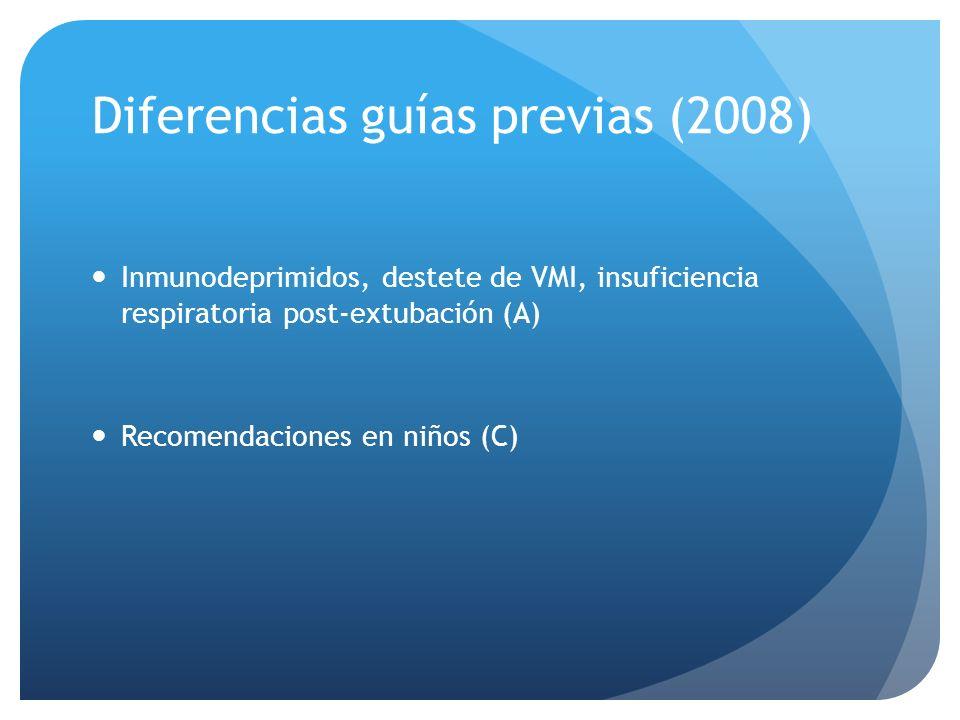 Diferencias guías previas (2008) Inmunodeprimidos, destete de VMI, insuficiencia respiratoria post-extubación (A) Recomendaciones en niños (C)